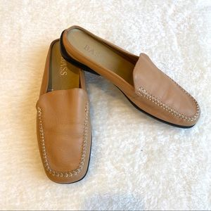 Bass Tan Leather Mules Slip On Shoes Size 8